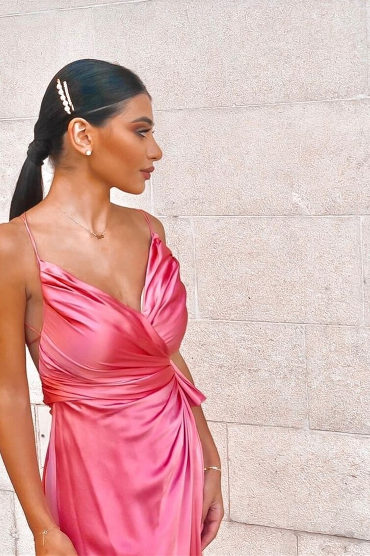 ''CANDACE'' - V CUT - OPEN BACK - DRAPED - SLIT