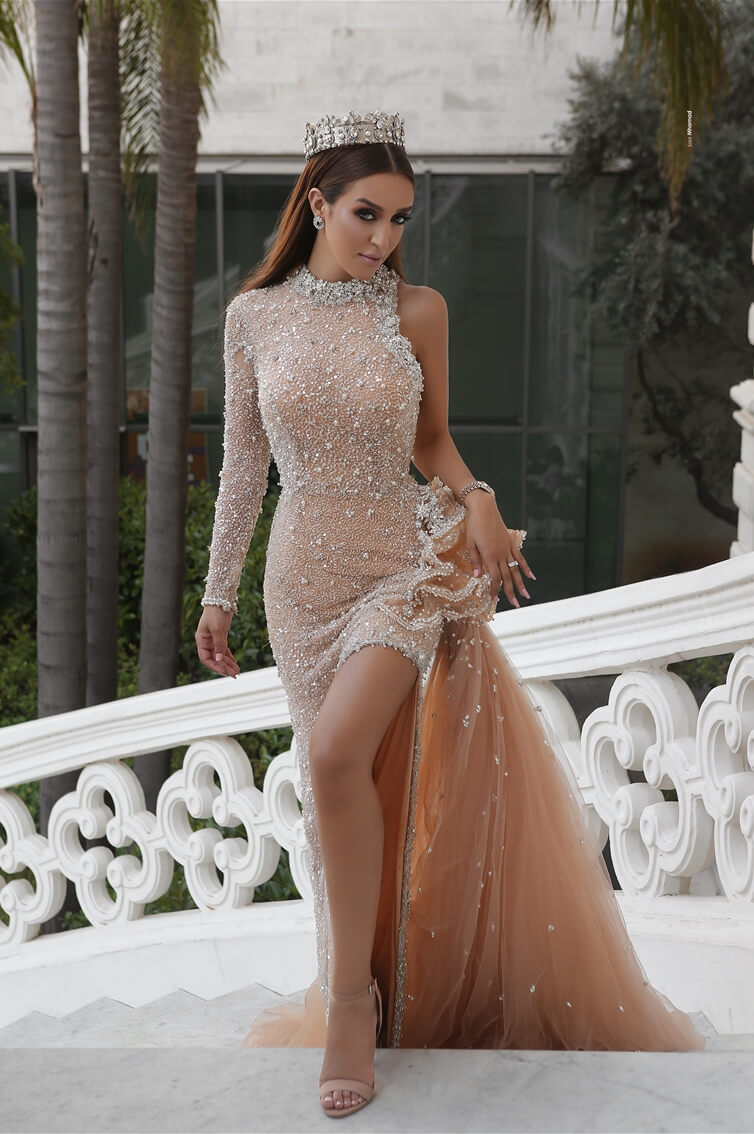 INFINITY - ONE SLEEVE - MERMAID CUT - REMOVABLE SKIRT - LONG