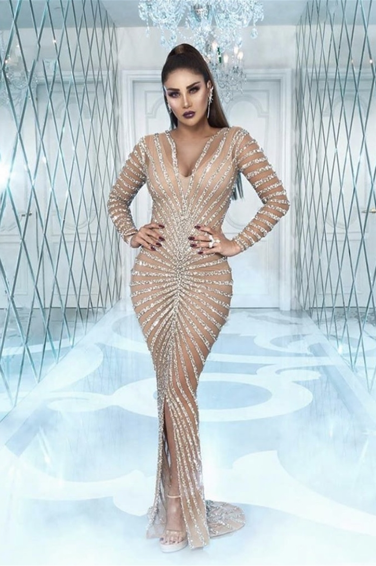 REEM - LONG SLEEVES - MERMAID CUT - SEE THROUGH - V CUT