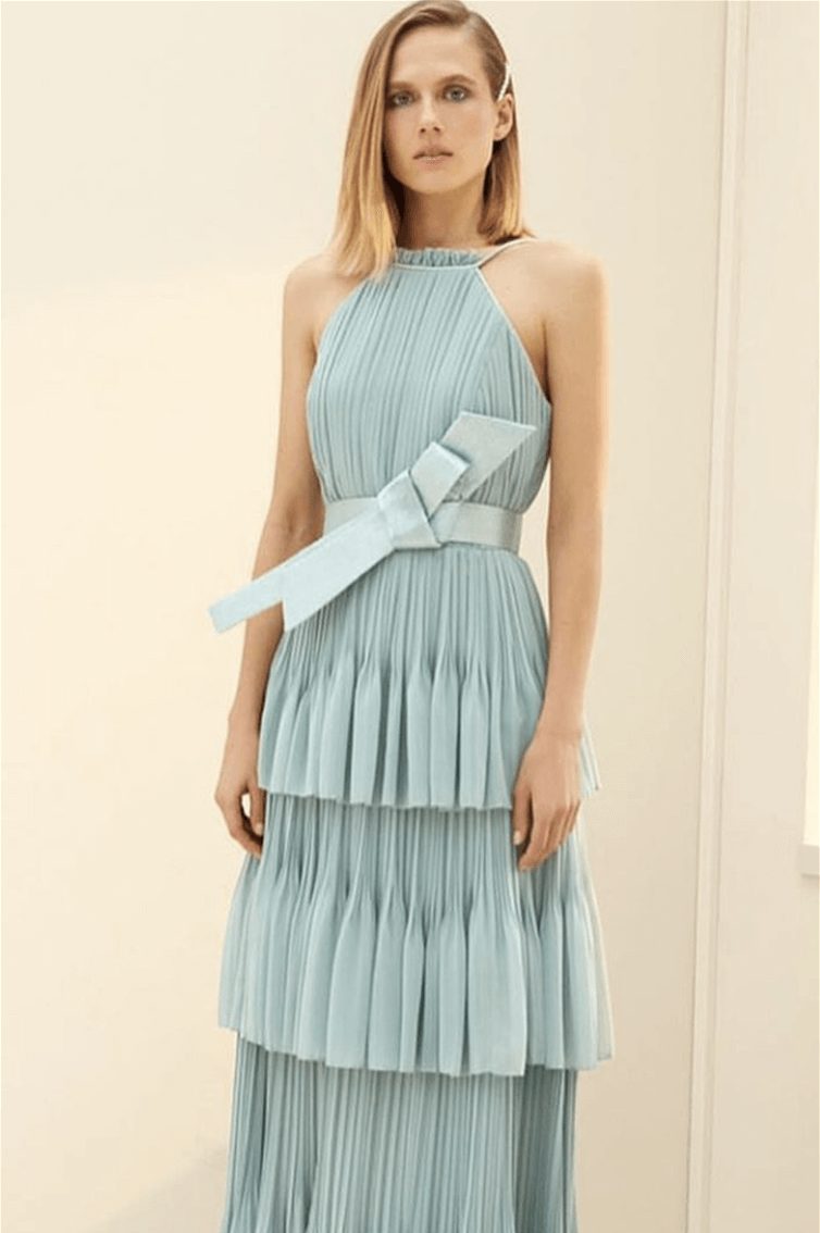 YASMINA - HALTER CUT - PLEATS - LONG - STRAIGHT CUT