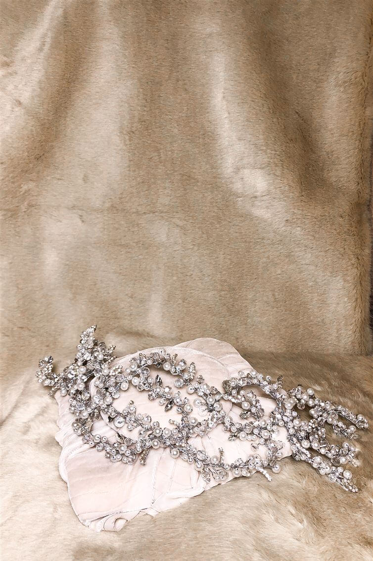 HEADPIECE - LONG - FLAT HEADBAND - SILVER