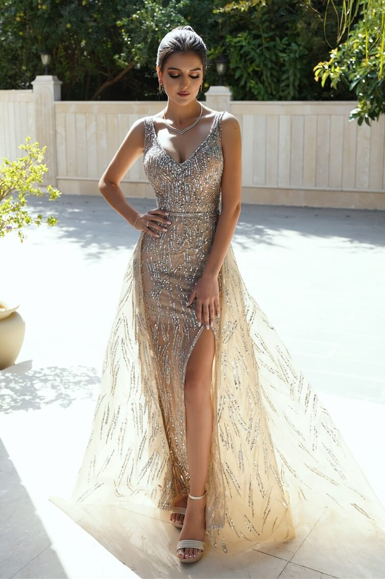 PATRICIA - MERMAID CUT - V CUT - REMOVABLE SKIRT - LONG