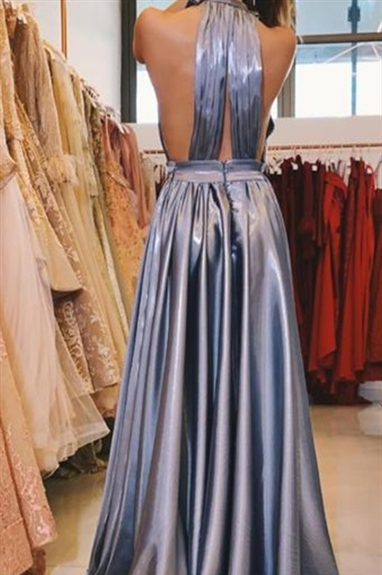 METALLIC - DRAPPED - SIMPLE - FLOWY - OPEN BACK